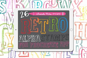 Procreate Retro Alphabet Stamps