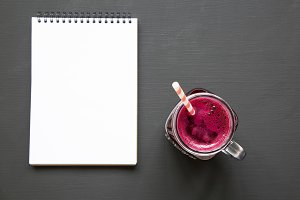 Beetroot smoothie in glass jar mug