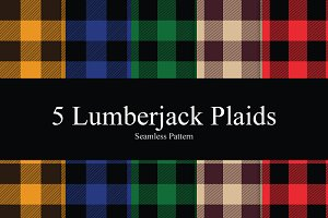 5 Lumberjack Plaid Seamless Patterns