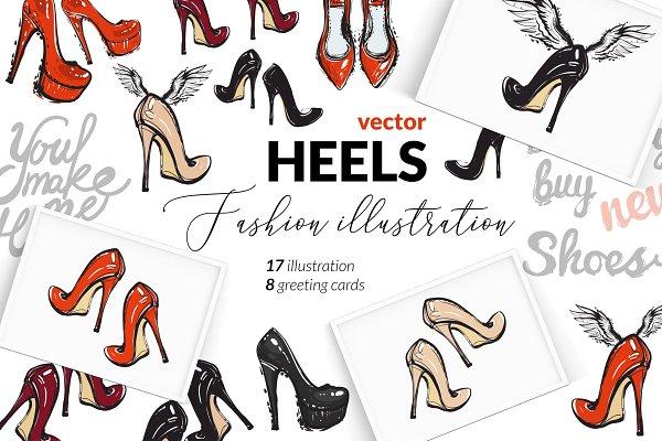 Heels shoes fashion illustrations