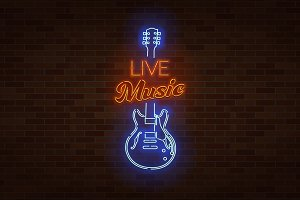 Live Music Neon Sign.