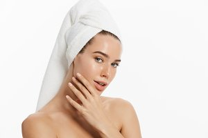 Spa skin care beauty woman wearing