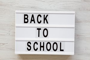 'Back to school' word on lightbox