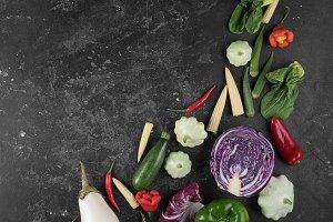 Food background. Fresh farmer vegeta