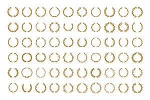 60 Gold circular laurel wreath set