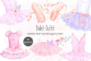Ballet Shoes and Ballet Dress Clipar