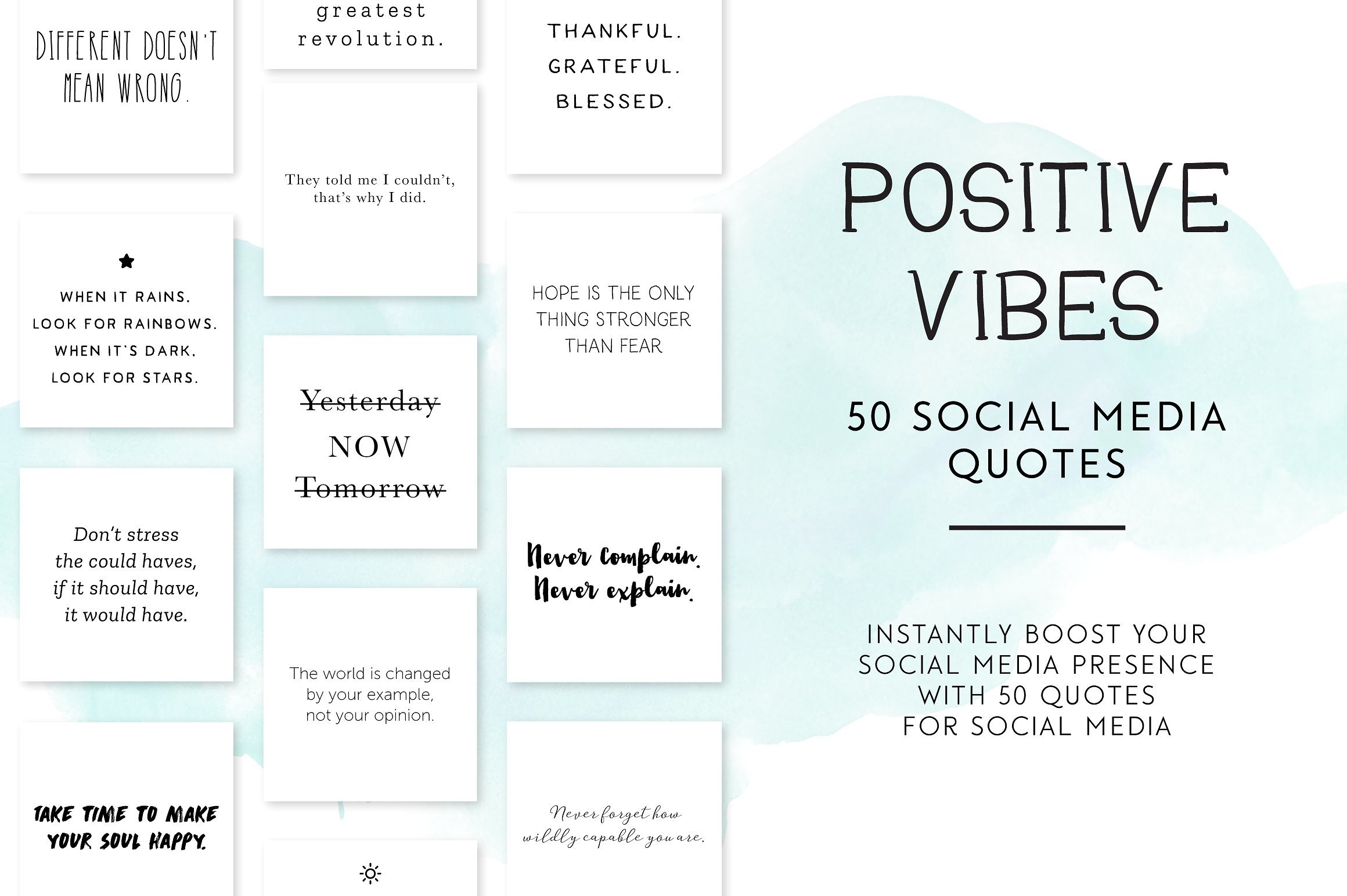 Positive Vibes Social Media Quotes Instagram Templates Creative