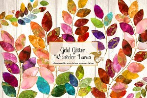 Gold Glitter Watercolor Leaf Clipart
