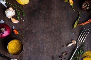 Fresh vegetables and ingredients