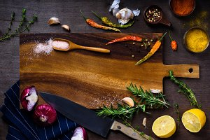 cooking ingredients on wooden table