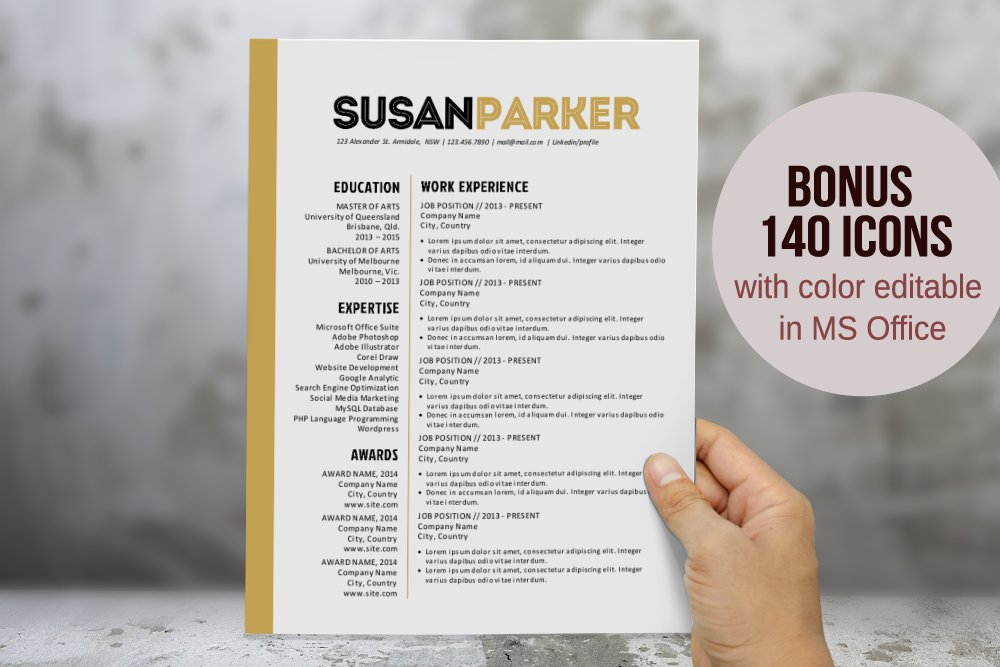 Bold Modern Word Resume Template Resume Templates