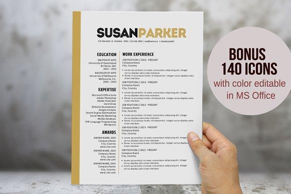 Bold modern Word resume template Resume Templates on Creative Market – Modern Word Templates