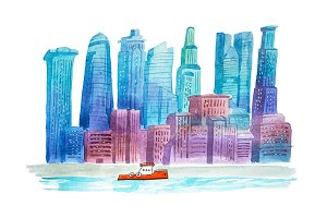 Aquarelle drawings cityscape skyline