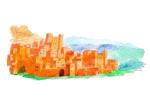 Watercolor illustration Kasbah Ait