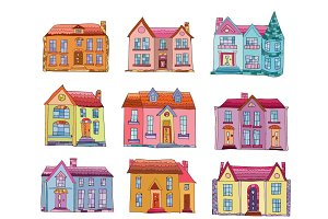 Set of old hand drawn houses vector