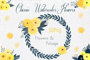 30 Watercolor Flowers & Foliages