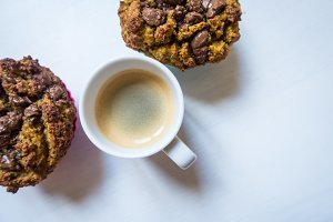 Espresso with chocolate muffins
