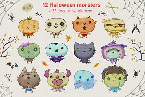 Cute Watercolor Halloween monsters