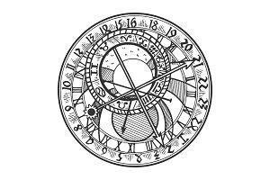Prague astronomical clock vector