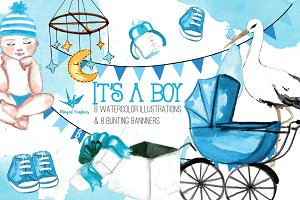 It's a boy watercolor illustrations