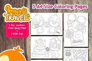 Digital Penguin Travel Coloring Page