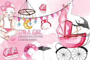 It's a girl:watercolor illustrations