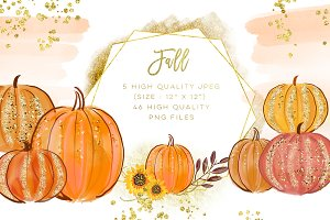 Pumpkins Watercolor Collection