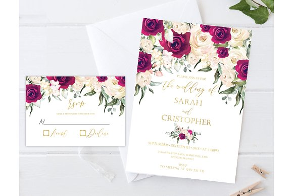 Burgundy Roses Wedding Invitation