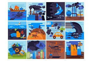 Pollution environment vector