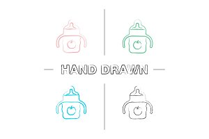 Baby sippy cup hand drawn icons set