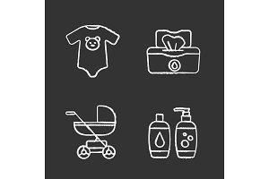 Childcare chalk icons set