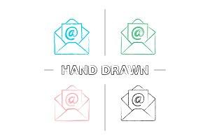 E-mail address hand drawn icons set