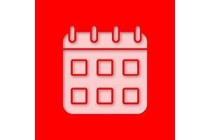 Calendar paper cut out icon