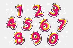 Festive colorful set of numbers