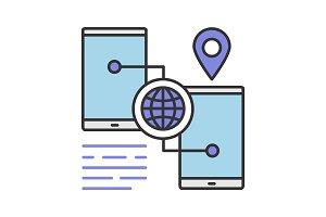 Smartphone GPS navigation color icon