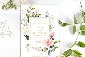 Blush Pink Roses Wedding Invite