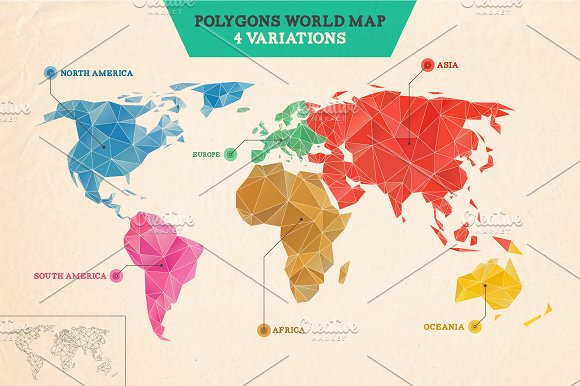 Polygons world map illustrations creative market gumiabroncs Choice Image