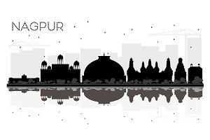 Nagpur India City skyline black