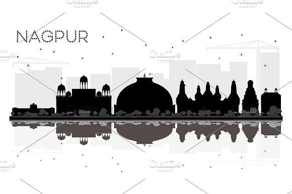 Nagpur India City skyline black