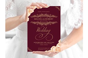 Rose Gold Roses Burgundy Invite