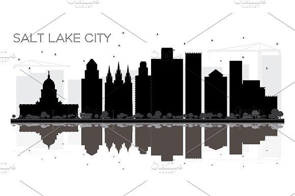 Salt Lake City Utah Skyline black