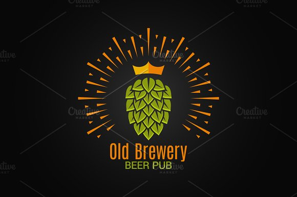 Brewery logo with hop and crown