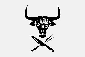 Steakhouse, bbq and grill logo.