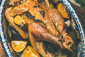 Roasted chicken with orange for
