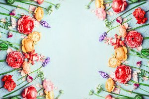 Beautiful flowers frame background
