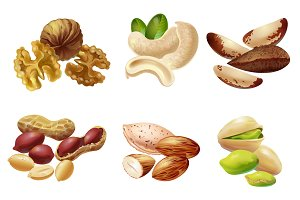 Cartoon Healthy Nuts Set