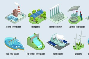 Isometric Environmental Eco Plants