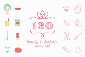 Set of 130 Beauty & Fashion icons