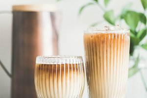 Iced coffee drink in tall glasses