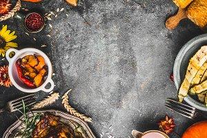 Thanksgiving dinner food frame